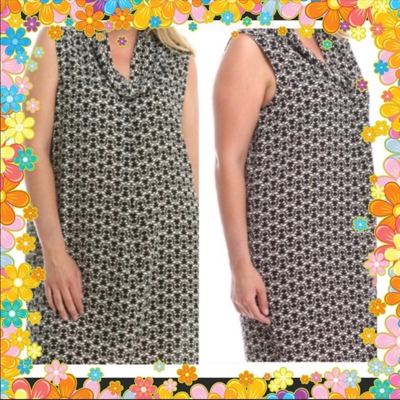 52f5091766f0d Ornate Contrast Cowl Neck Plus Size Dress